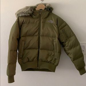 XS Down North Face Bomber Jacket with faux fur